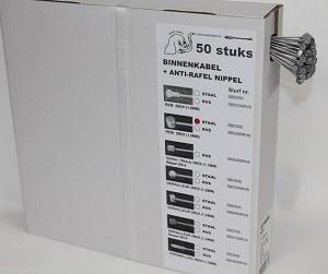 Remkabel Ton / Bol, binnenkabel met antirafelnippel, 2M25 (doos met 50 stuks)